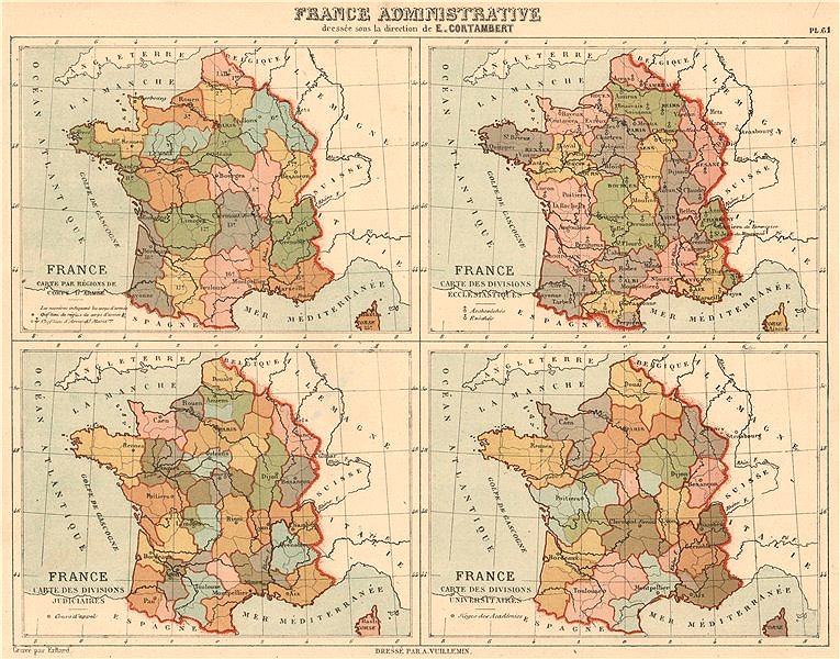 Associate Product FRANCE ADMINISTRATIVE Army/Ecclesiastical/Judicial/University divisions 1880 map