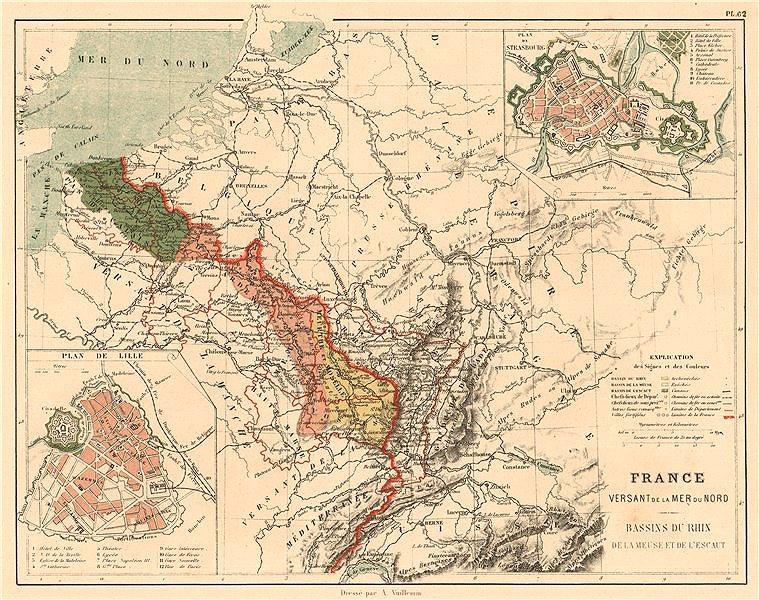 Associate Product FRANCE NORTH SEA MER DU NORD WATERSHED Rhine Meuse Escaut/Scheldt basin 1880 map