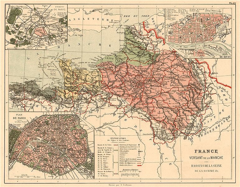 Associate Product FRANCE MANCHE ENGLISH CHANNEL WATERSHED. Seine Somme Orne Rance basins 1880 map