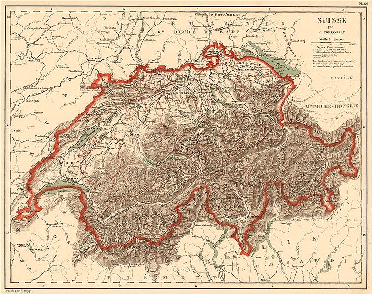 Associate Product SUISSE Schweiz Switzerland physical. Lakes rivers mountains railways 1880 map