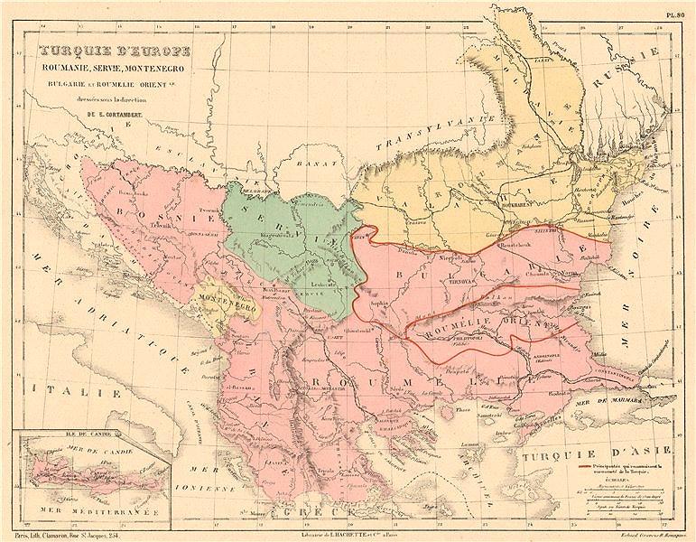 Associate Product TURKEY IN EUROPE. Principalities recognising suzerainty. Balkans Candia 1880 map