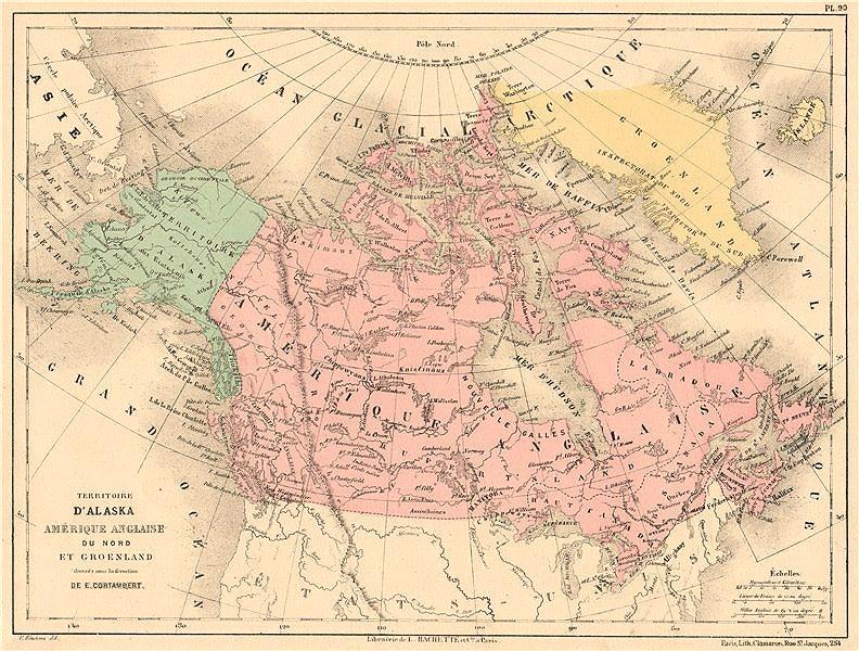 Associate Product BRITISH AMERICA, GREENLAND & ALASKA. Canada. North America. CORTAMBERT 1880 map