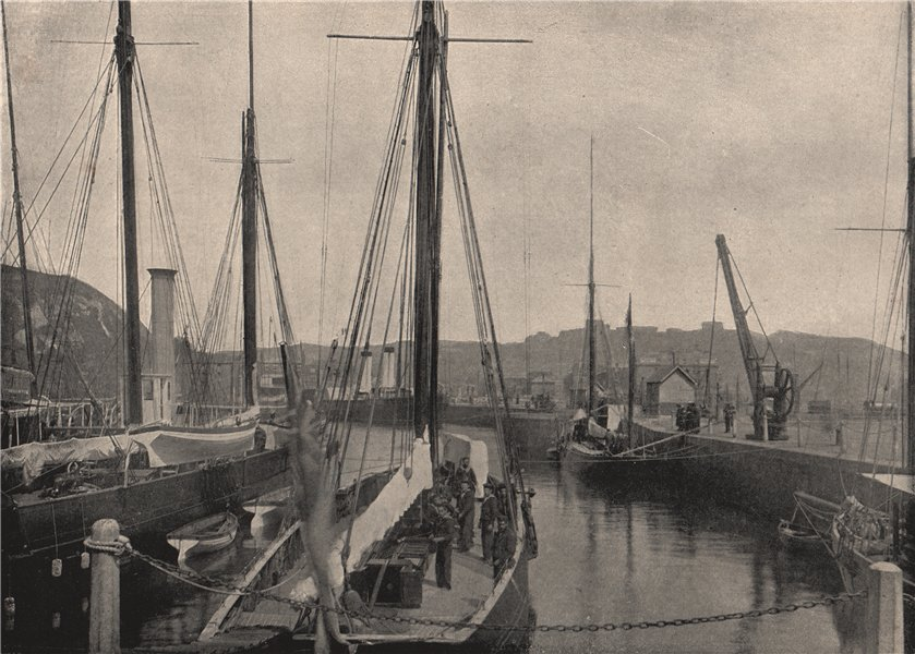 DOVER. The harbour, with Dover Castle in the distance. Kent 1895 old print