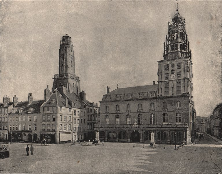 Associate Product CALAIS. The Hotel de Ville and the old watch-tower. Pas-de-Calais 1895 print