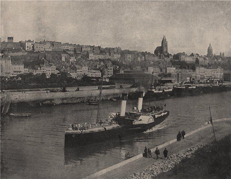 BOULOGNE. General view from the west pier. Pas-de-Calais 1895 old print