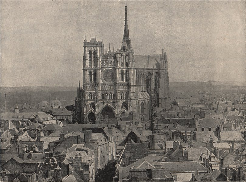 Associate Product AMIENS. View from the belfry, showing cathedral. Somme 1895 old antique print