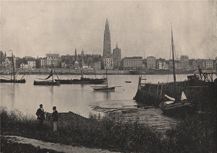 Associate Product ANTWERP. View of river, showing cathedral on opposite bank. Belgium 1895 print