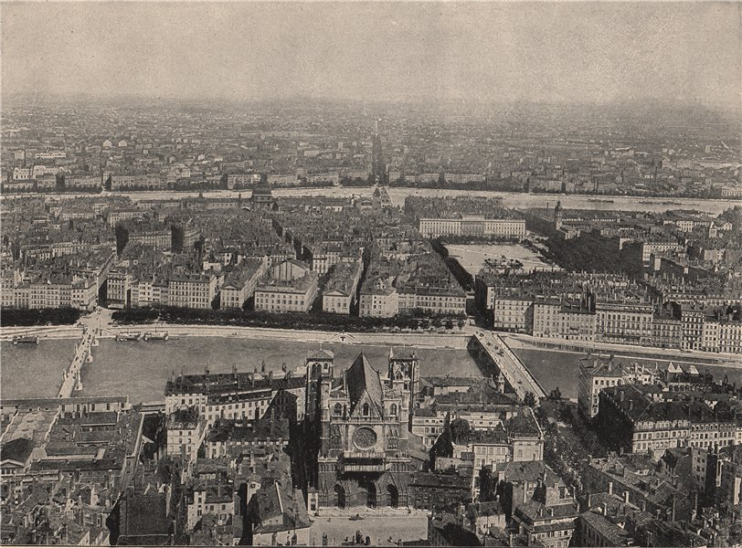 Associate Product LYON. The City of Silk from the church on the Fourvièvres Hill. Rhône 1895