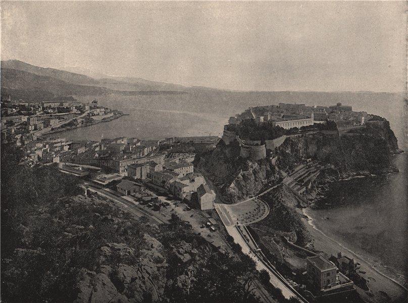 MONTE CARLO. Bird's-eye view of the principality. Monaco 1895 old print