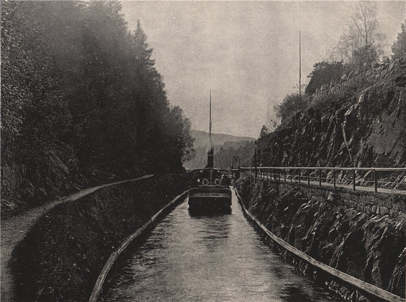 Associate Product THELEMARKEN CANAL. View on the Thelemarken Canal. Norway 1895 old print