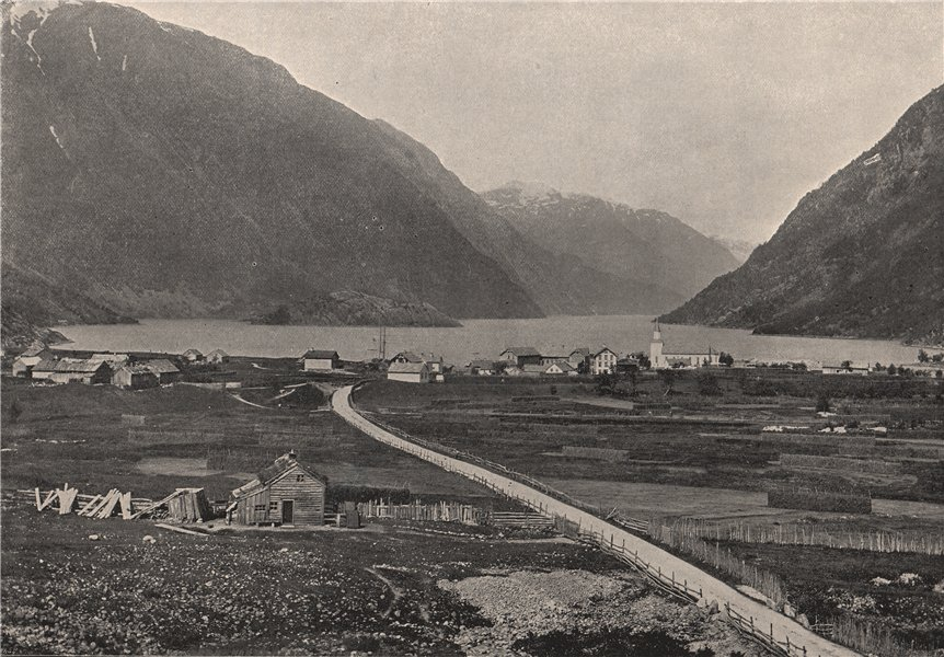 ODDE. General view of Odde. Norway 1895 old antique vintage print picture