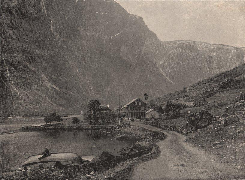 Associate Product GUDVANGEN. Telephone station and hotels, Gudvangen. Norway 1895 old print