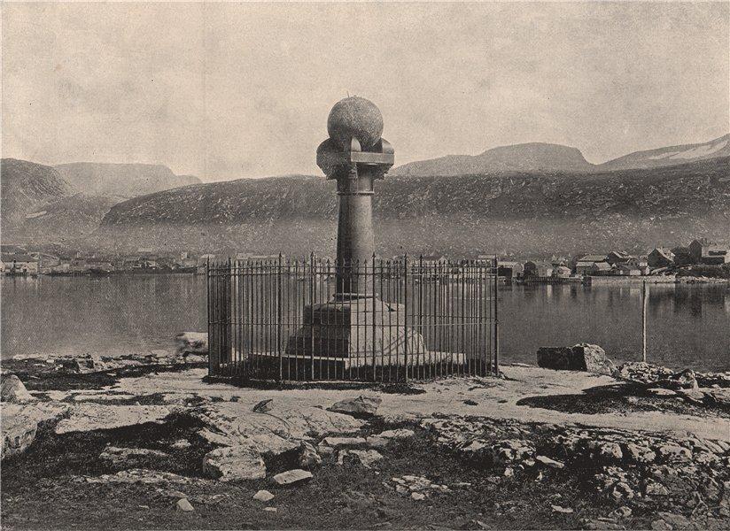 Associate Product HAMMERFEST. The Meridian Column, Hammerfest. Norway 1895 old antique print