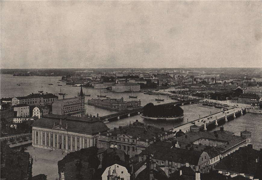 Associate Product STOCKHOLM. Panorama of the city. Sweden 1895 old antique vintage print picture