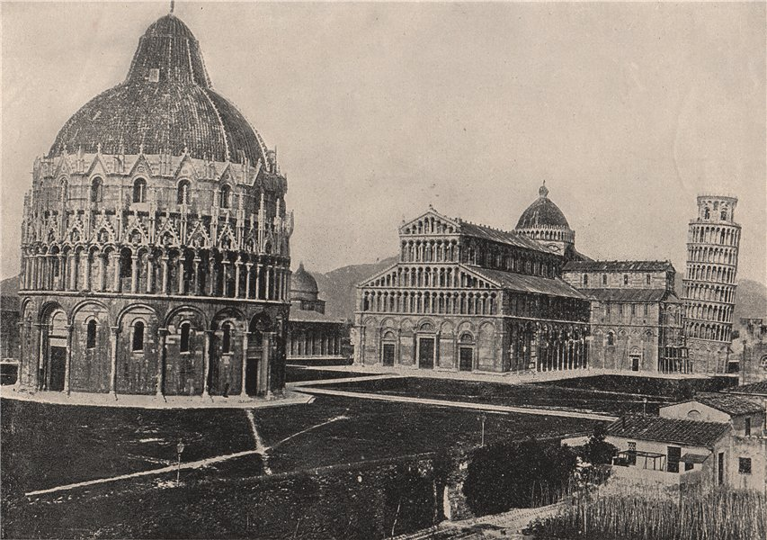 Associate Product PISA. The baptistry, the cathedral, and the Leaning Tower. Italy 1895 print