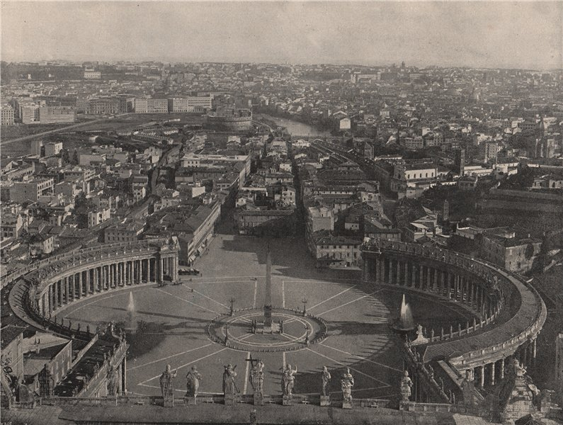 Associate Product ROME. Bird's-eye view from the dome of St. Peter's. Rome 1895 old print