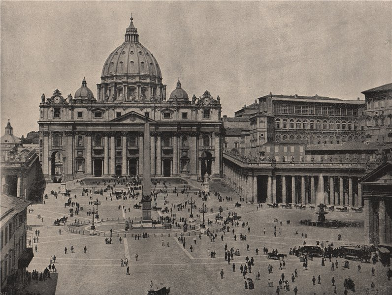 Associate Product ST. PETER'S. St. Peter's, showing the Piazza and the Vatican. Rome 1895 print