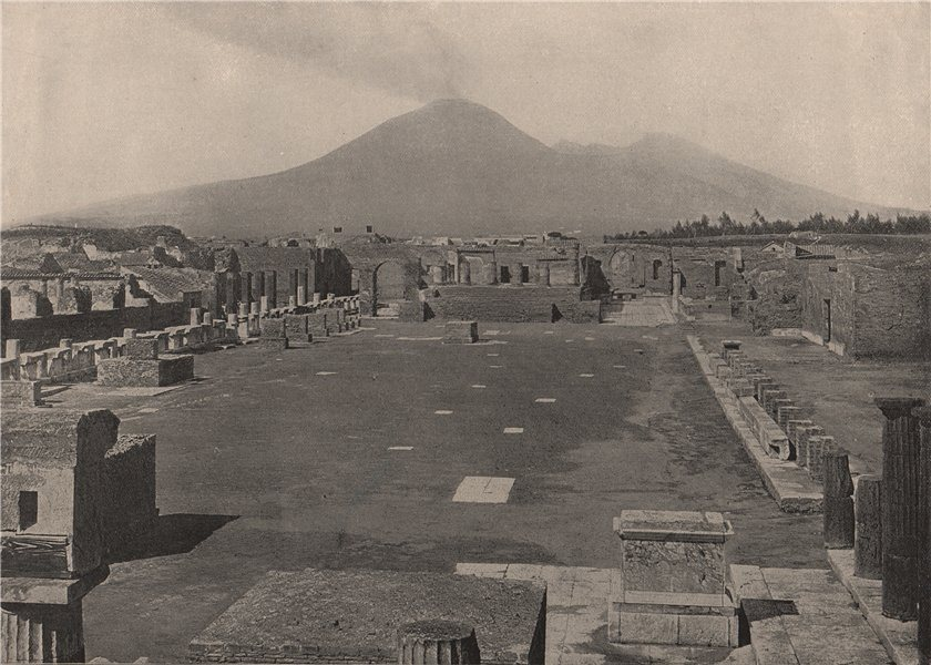 Associate Product POMPEII. View of the Forum, with Vesuvius in the background. Italy 1895 print