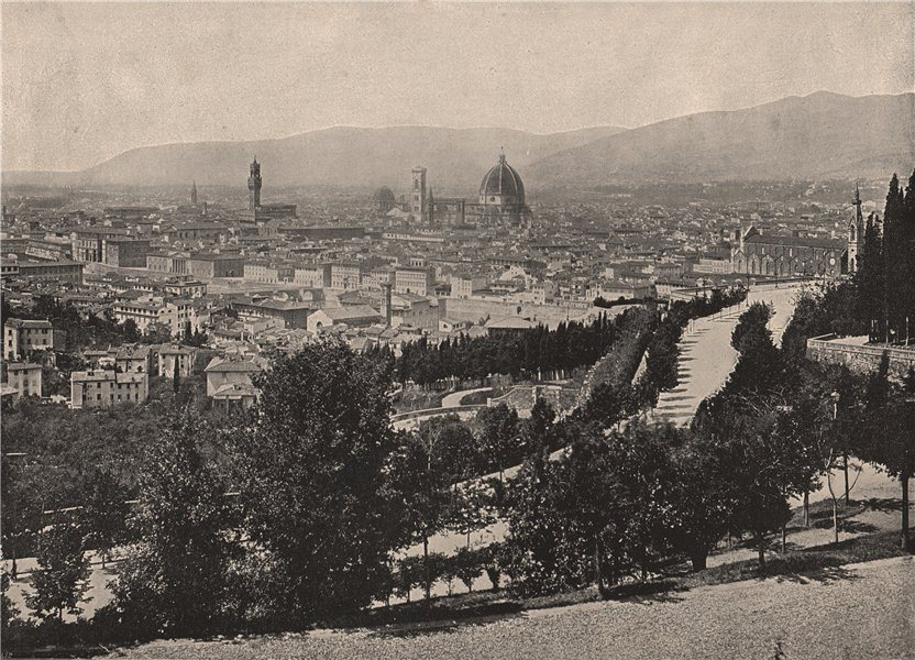 Associate Product FLORENCE. Panorama of the city. Italy 1895 old antique vintage print picture