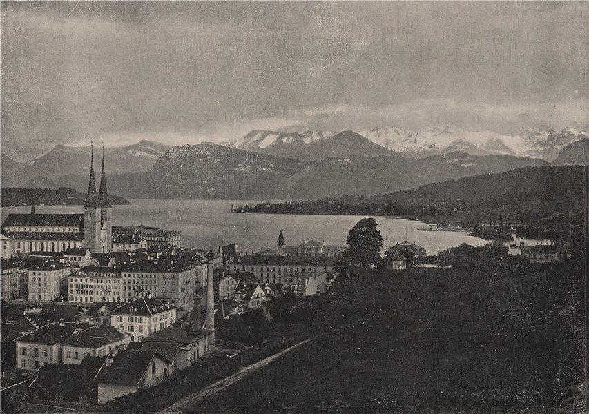 Associate Product LUCERNE. View of Lucerne and its mountains. Switzerland 1895 old antique print