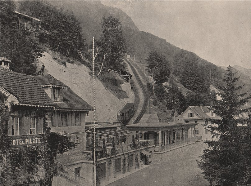 Associate Product ALPNACH STAD. Starting-point of the Pilatus Railway. Switzerland 1895 print