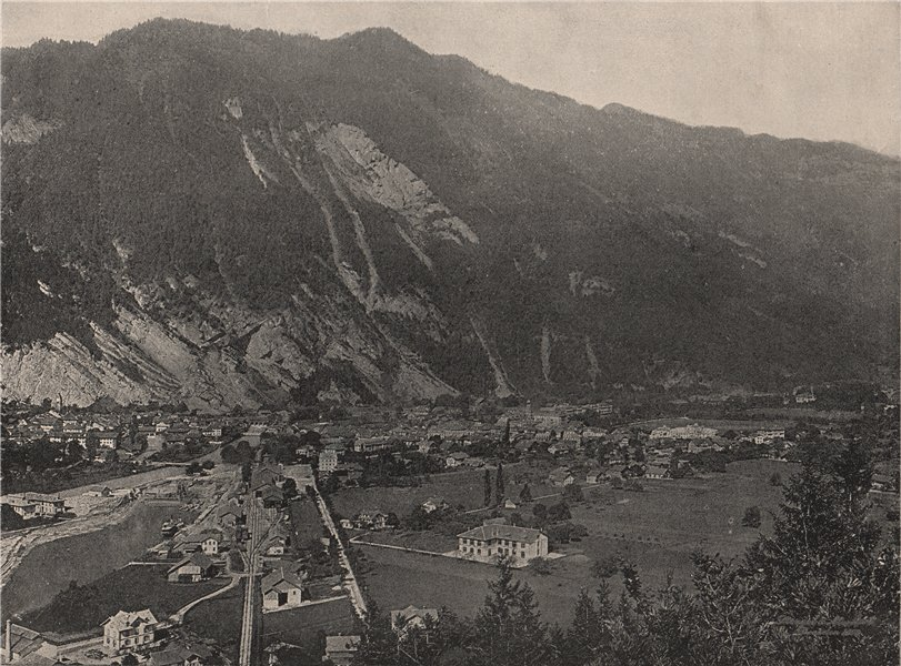 Associate Product INTERLAKEN. General view of the town. Switzerland 1895 old antique print
