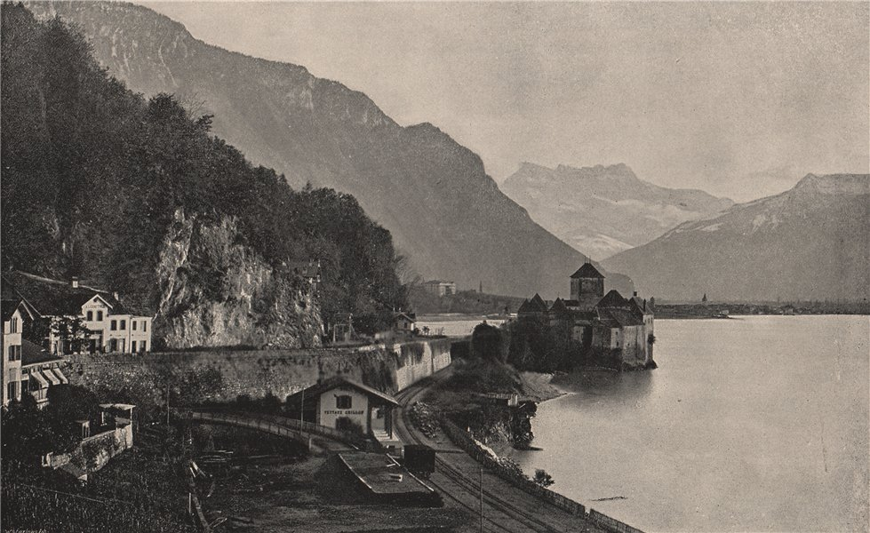 Associate Product CHILLON. Chillon, showing the castle. Switzerland 1895 old antique print