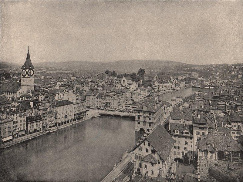 Associate Product ZURICH. Grosse Stadt & Kleine Stadt. River Limmat. Switzerland 1895 old print