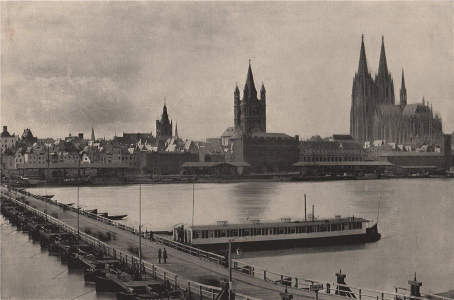 Associate Product KOLN COLOGNE. View from the right bank. Cathedral &Bridge of Boats. Germany 1895