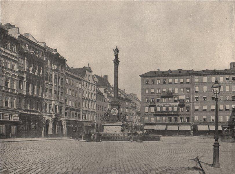 Associate Product MUNICH. The Carolinen-Platz. Germany 1895 old antique vintage print picture