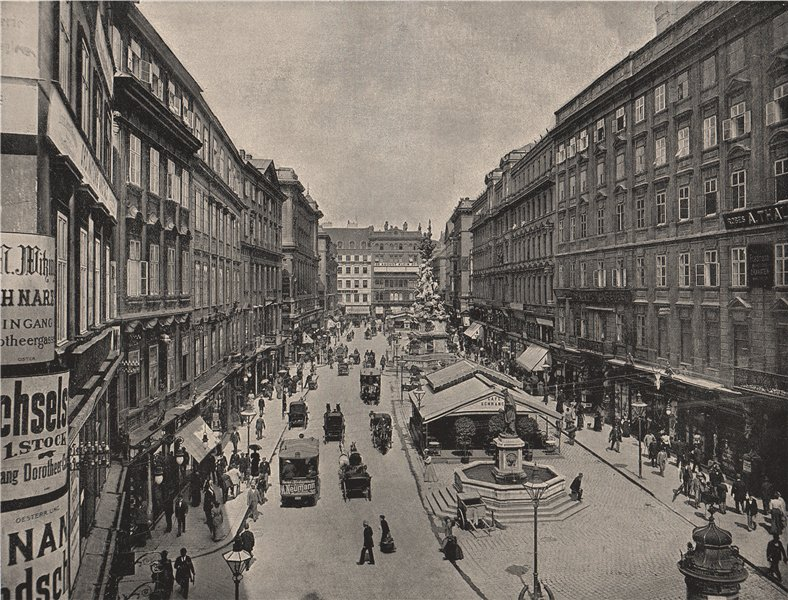 Associate Product VIENNA. The Graben. Austria 1895 old antique vintage print picture