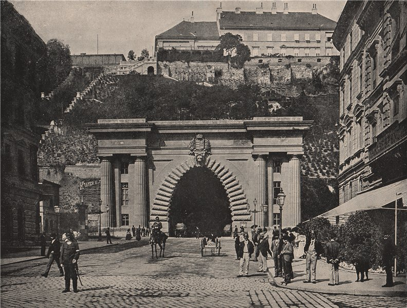Associate Product BUDAPEST. The hill, showing the entrance to the tunnel. Hungary 1895 old print
