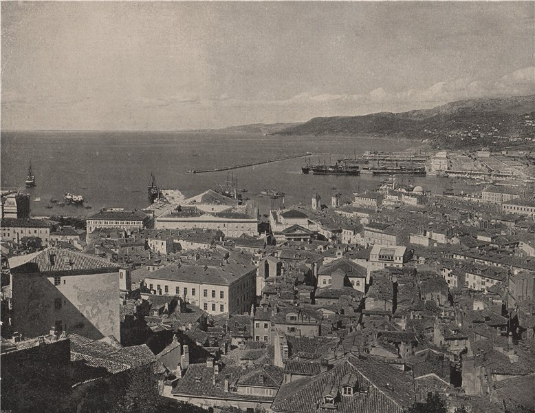 Associate Product TRIESTE. The town and the harbour. Italy 1895 old antique print picture