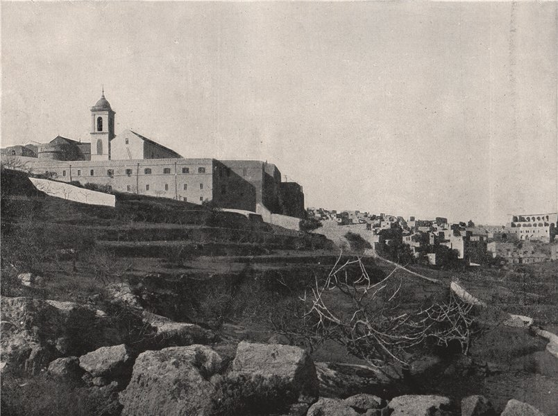 Associate Product BETHLEHEM. The town and the Church of the Nativity. Israel 1895 old print