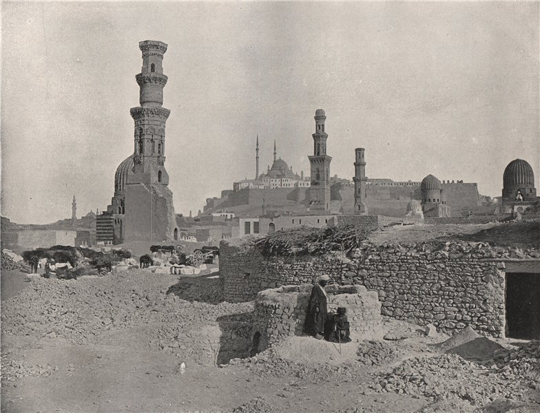 Associate Product CAIRO. Distant view of the Citadel. Egypt 1895 old antique print picture