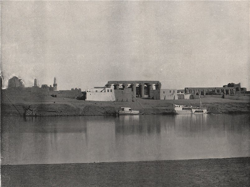 Associate Product LUXOR. View from the opposite bank, showing temple. Egypt 1895 old print