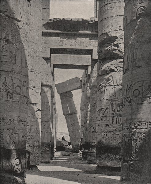 KARNAK. The columns of the Hypostyle Hall. Egypt 1895 old antique print