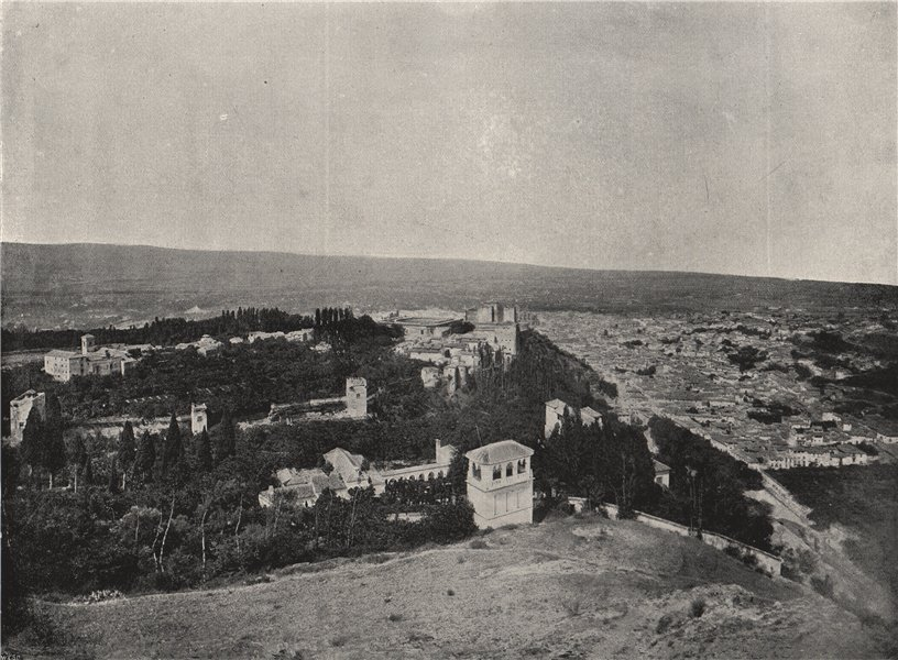 Associate Product GRANADA. View of the city and the Alhambra. Spain 1895 old antique print