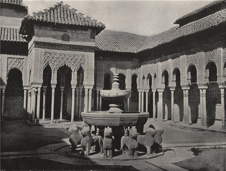 THE ALHAMBRA. The Court of Lions. Spain 1895 old antique vintage print picture