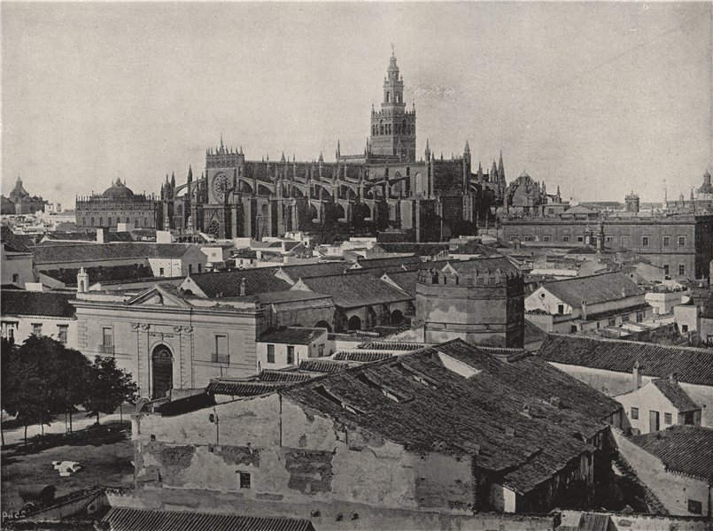 Associate Product SEVILLE. General view, showing the cathedral. Spain 1895 old antique print