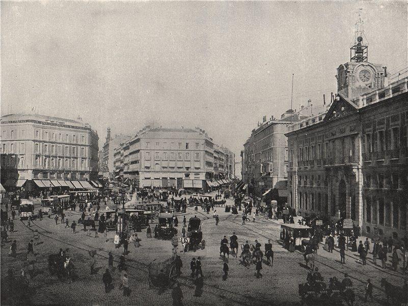 Associate Product MADRID. The Puerta del Sol. Spain 1895 old antique vintage print picture