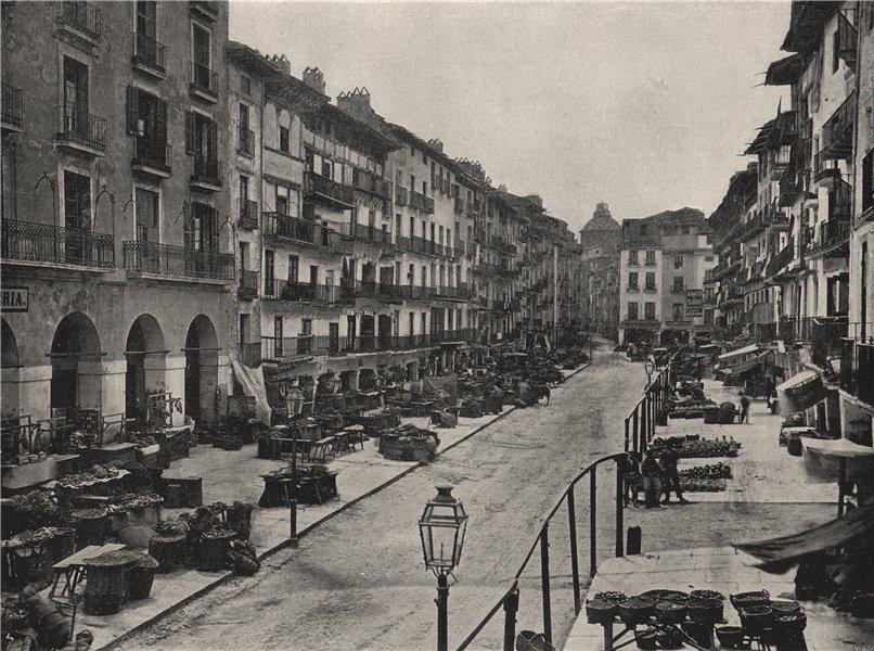 Associate Product ZARAGOZA. The market-place. Spain 1895 old antique vintage print picture