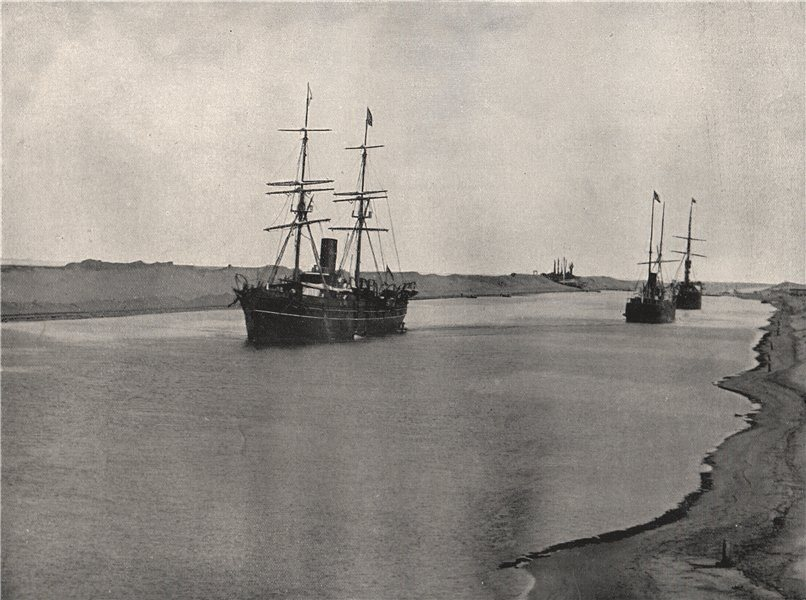 Associate Product KANTARAH. View on the Suez Canal. Egypt 1895 old antique vintage print picture
