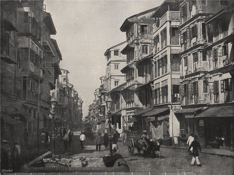 Associate Product BOMBAY (MUMBAI) . Borah Bazar Street. India 1895 old antique print picture