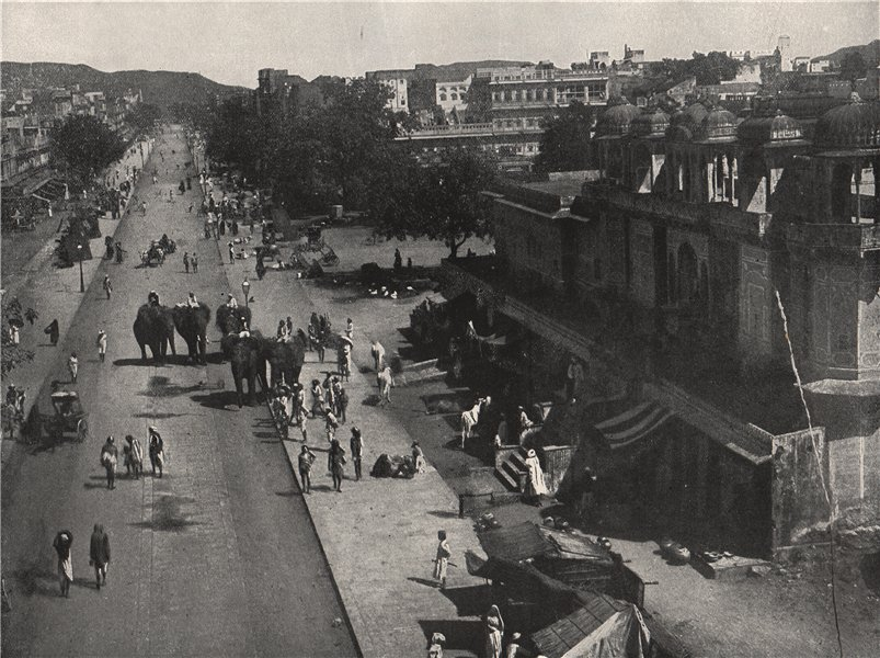 Associate Product JAIPUR. Street scene in the city. India 1895 old antique vintage print picture