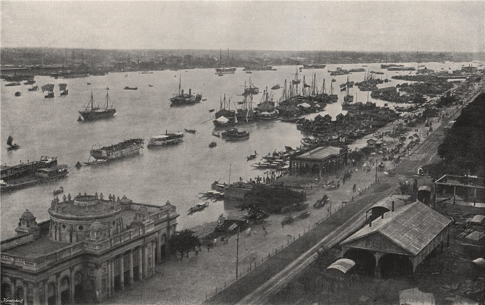Associate Product CALCUTTA (KOLKATA) . View from the Hooghly Bridge. India 1895 old print