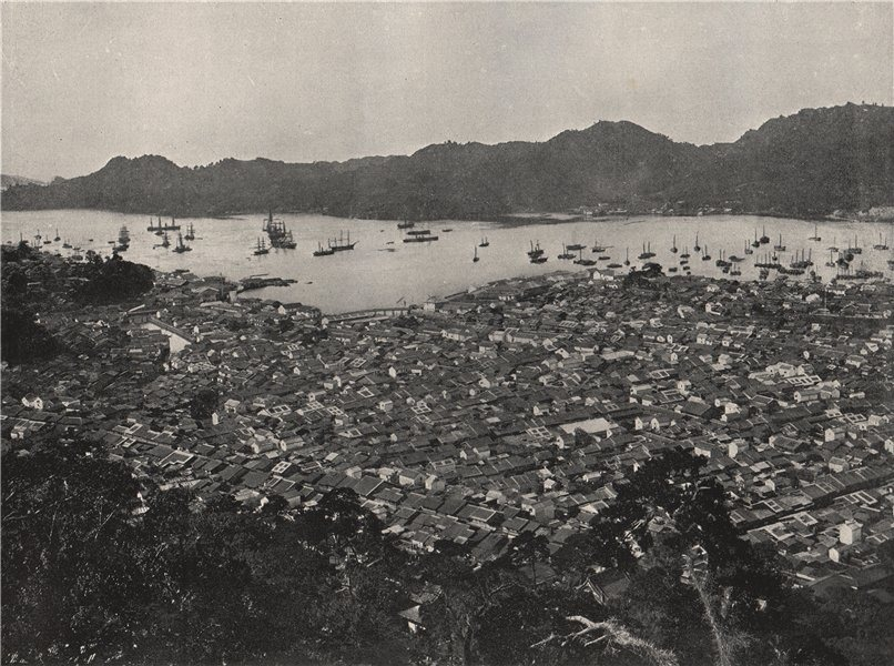Associate Product NAGASAKI. Panoramic view of the city. Japan 1895 old antique print picture