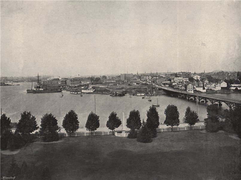 Associate Product VICTORIA. View from the government buildings. British Columbia 1895 old print