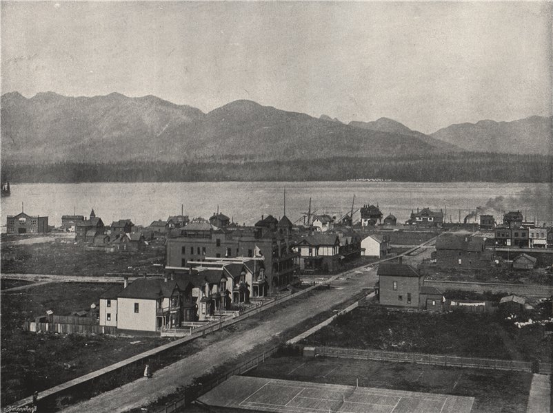 Associate Product VANCOUVER. From the C. P. R. Hotel, showing harbour. British Columbia 1895