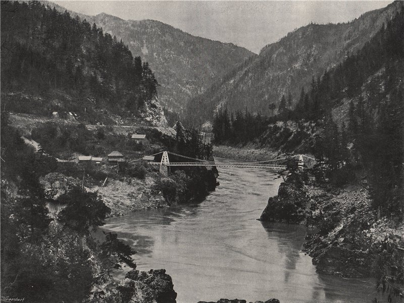 Associate Product THE ROCKIES. Frazer Cañon, Carriboo road bridge, Spuzzum. British Columbia 1895